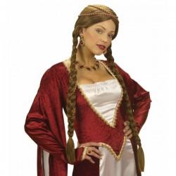 Peluca de princesa castaña medieval - Imagen 1