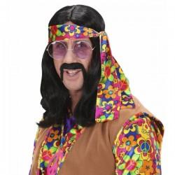 Peluca de hippie negra con cinta - Imagen 1
