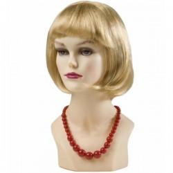 Collar de perlas asimétrico rojo - Imagen 1
