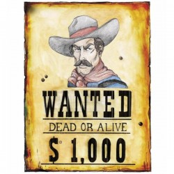 Cartel Wanted del lejano oeste - Imagen 1
