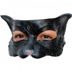 Media máscara de Kitty negra de látex - Imagen 1