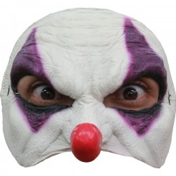 Media máscara de Payaso morado de látex - Imagen 1