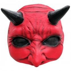 Media máscara de Demonio rojo de látex - Imagen 1