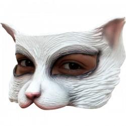 Media máscara de Kitty blanca de látex - Imagen 1
