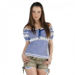 Blusa de algodón azul Oktoberfest para mujer - Imagen 1