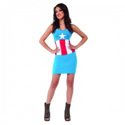 Vestido disfraz Capitán América Marvel classic para mujer - Imagen 1