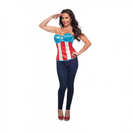 Corsé Capitán América con lentejuelas Marvel para mujer - Imagen 1