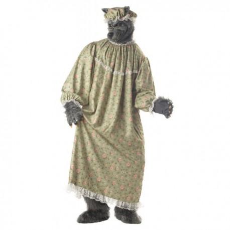 Disfraz de abuelita lobo de caperucita para hombre - Imagen 1