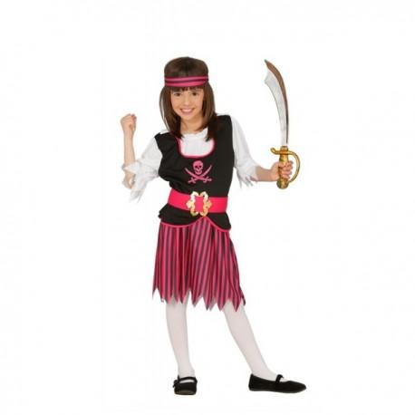 Disfraz de pirata de los mares fucsia para niña - Imagen 1