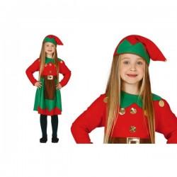 Disfraz de elfa trabajadora roja para niña - Imagen 1