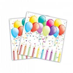 Set de 20 servilletas globos cumpleañeros - Imagen 1