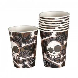 Set de 8 vasos de Halloween esqueletos - Imagen 1