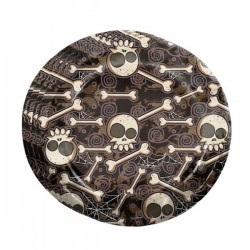 Set de 8 platos de Halloween esqueletos - Imagen 1