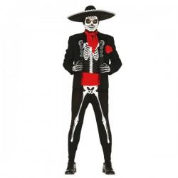 Disfraz de esqueleto día de los muertos mexicano para hombre - Imagen 1