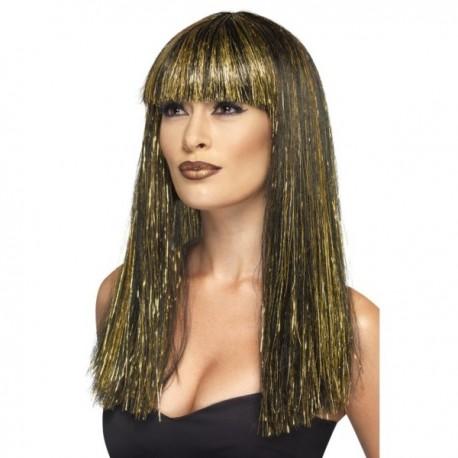 Peluca de diosa egipcia morena y dorada - Imagen 1