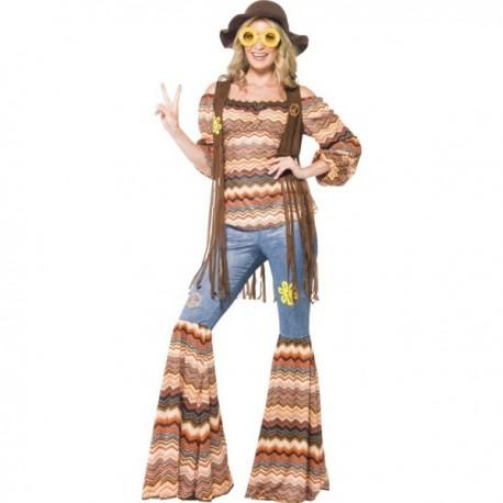 Kit disfraz de chica hippie con para mujer - Imagen 1