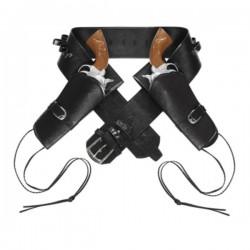 Cinturón con doble funda para pistola negro para hombre - Imagen 1