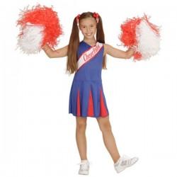 Disfraz de animadora azul y rojo para niña - Imagen 1
