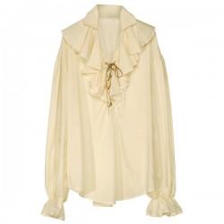 Camisa beige de pirata para mujer - Imagen 1