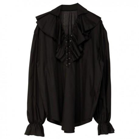 Camisa pirata negra para hombre - Imagen 1