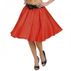 Falda de satén roja con enaguas para mujer - Imagen 1