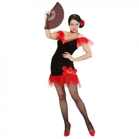 Disfraz de sevillana rojinegra para mujer - Imagen 1