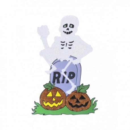 Pegatina para ventana de esqueleto con lápida - Imagen 1