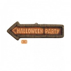Cartel Halloween Party fluorescente 3D - Imagen 1