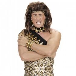 Brazalete de hueso y piel de leopardo para adulto - Imagen 1