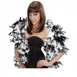Boa de plumas en colores blanco y negro estilo lujo para mujer - Imagen 1