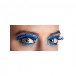 Pestañas azules metalizadas para mujer - Imagen 2