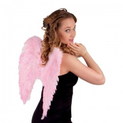 Alas de plumas rosas para adulto - Imagen 2