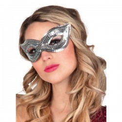 Antifaz plateado de lentejuelas para mujer - Imagen 2