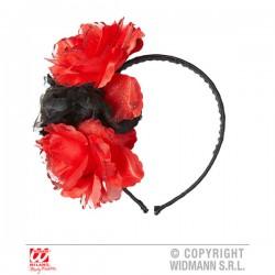Diadema con flores rojas y negra para adulto - Imagen 1
