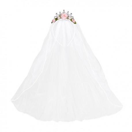 682cf4b66a Velo de novia con corona y flores para mujer. Comprar Online
