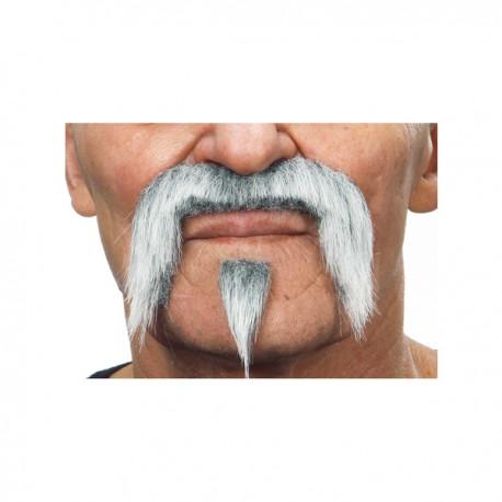 Bigote con perilla gris western para hombre - Imagen 2