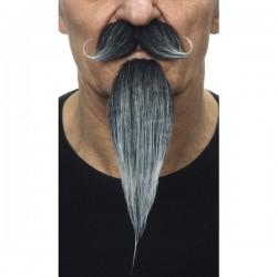 Bigote con perilla mosquetero canosa para hombre - Imagen 2