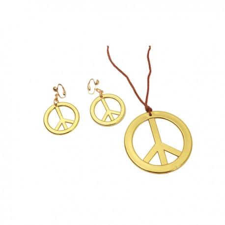 Colgante y pendientes hippies dorados para mujer - Imagen 1