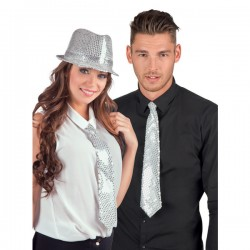Corbata blanca de lentejuelas para adulto - Imagen 2