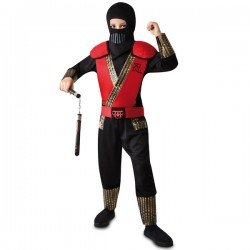 Disfraz de ninja kombat rojo para niño - Imagen 1