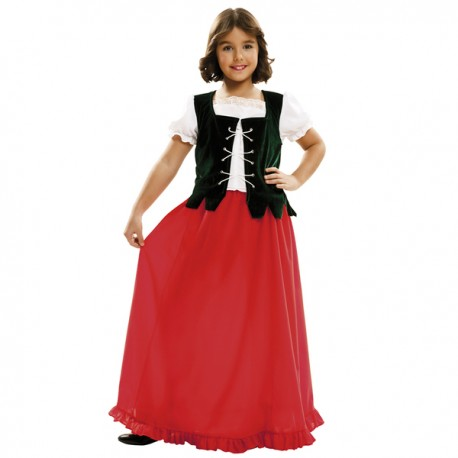 Disfraz de doncella Dulcinea para niña - Imagen 1