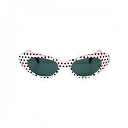 Gafas años 50 a topos blancas para adulto - Imagen 1