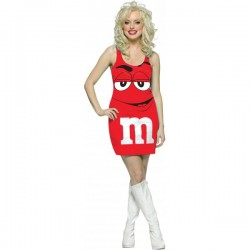 Disfraz de M&Ms Rojo vestido adulto - Imagen 1