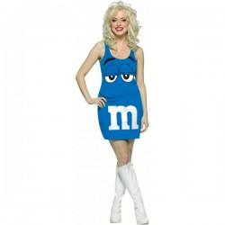 Disfraz de M&Ms Azul vestido adulto - Imagen 1