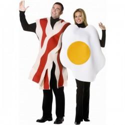 Disfraz de huevo con bacon 2 en 1 para pareja - Imagen 1