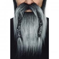 Barba y bigote gris vikinga para adulto - Imagen 2