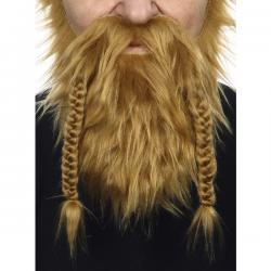 Barba y bigote pelirroja vikinga para adulto - Imagen 2