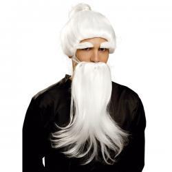 Peluca con barba blanca de Du Man Chu para hombre - Imagen 2