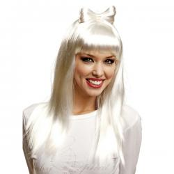 Peluca blanca larga con flequillo para mujer - Imagen 2