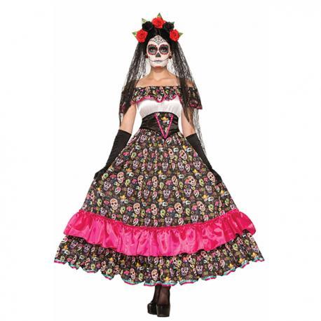 df114ec31a Comprar Disfraz de Catrina muerte mexicana para mujer Online